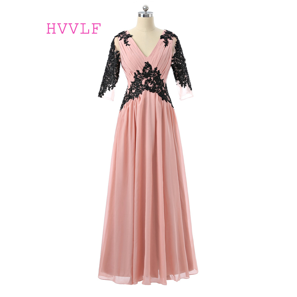 Pink   Evening     Dresses   2019 A-line V-neck Half Sleeves Chiffon Lace Beaded Women Long   Evening   Gown Prom   Dresses   Robe De Soiree