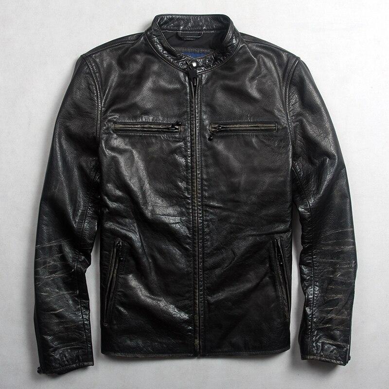 Mens Leather Jacket Motorcycle Real Lambskin Biker Jacket Slim Fit Black Coat