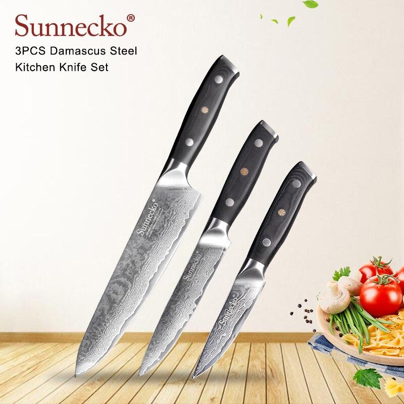SUNNECKO 3 pcs Cuisine Couteaux Ensemble Épluchage Utilitaire Chef Couteau Damas Japonais VG10 Acier Couteau G10 Poignée Viande Fruits De Coupe outil