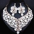 Joyería de moda de Lujo Cristalino Grande Collar Pendientes para Las Mujeres Dubai Africana Joyería Nupcial conjunto