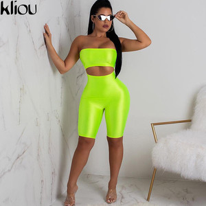 Image 4 - Kliou 2018 women sexy short fluorescence playsuits short hollow out strapless female sexy skinny solid party rompers bodysuits