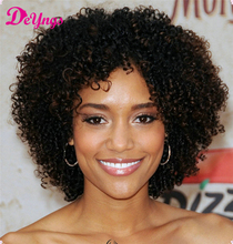 Hot Short Kinky Curly Synthetic Wigs For Black Women Black Mixed Brown Perruque Synthetic Women Pelucas Pelo Natural Yuri On Ice