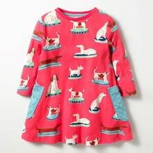 Детское осеннее платье с длинным рукавом красного цвета