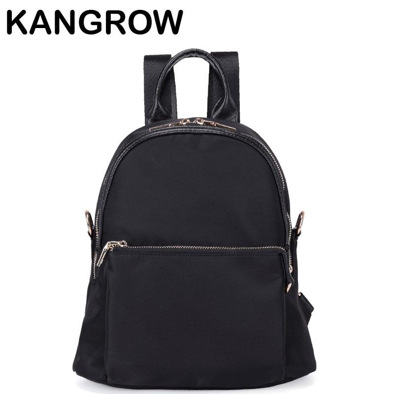 Kangrow Nylon Women Backpacks Black Fashion Women Backpack Solid Women Backbags Mochila Feminina