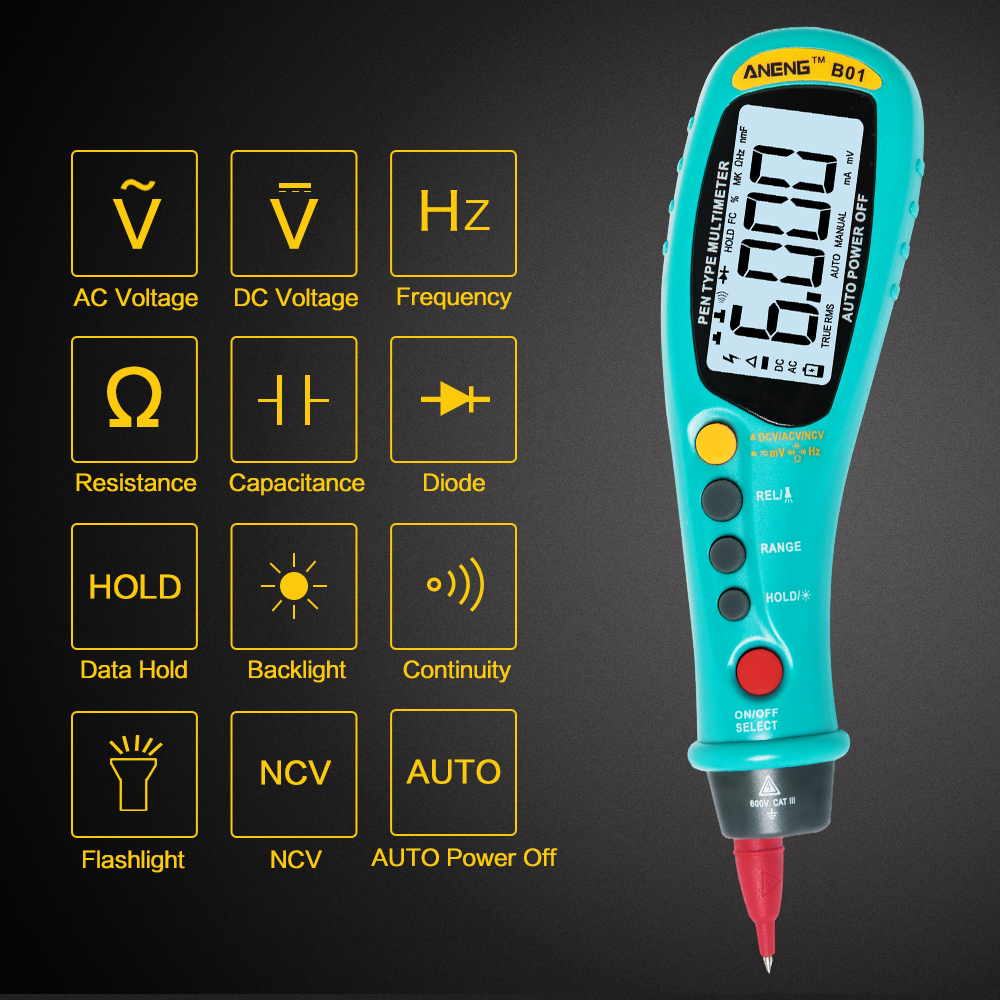 ANENG B01 Pen Type Digital Multimeter Auto-Range True RMS NCV 6000 Counts AC/DC Voltage Electronic Meter Car Multimeter mastech ms8260f 4000 counts auto range megohmmeter dmm frequency capacitor w ncv