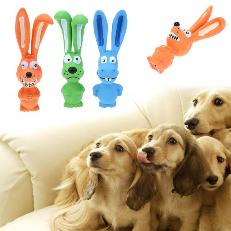 Animal Shape Pet Puppy Dog Cute Rabbit Latex Puppy Chew Grab Toy Squeeze Sounding Pet Bite Resistant Sound Playing Toys 1pc