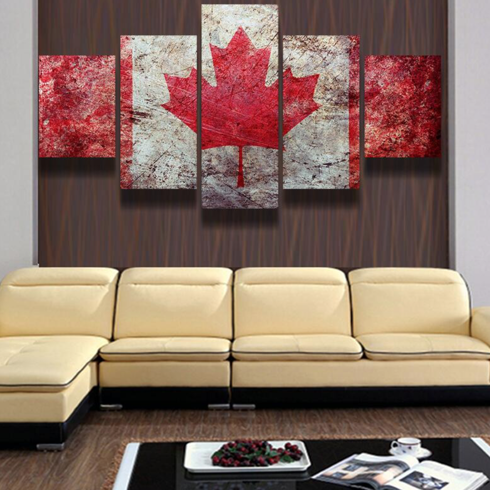 Home Decor Canada: 5 Panel Canvas Painting Canada Pride Decoration Pictures