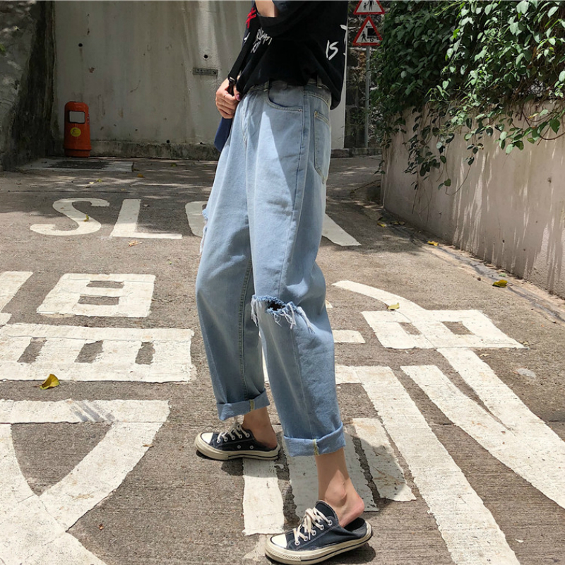 KYMAKUTU Hole High Waist Jeans Women Loose Ankle-length Denim Wide Leg Pants 2018 Summer New Female Pantalones Vaqueros Mujer