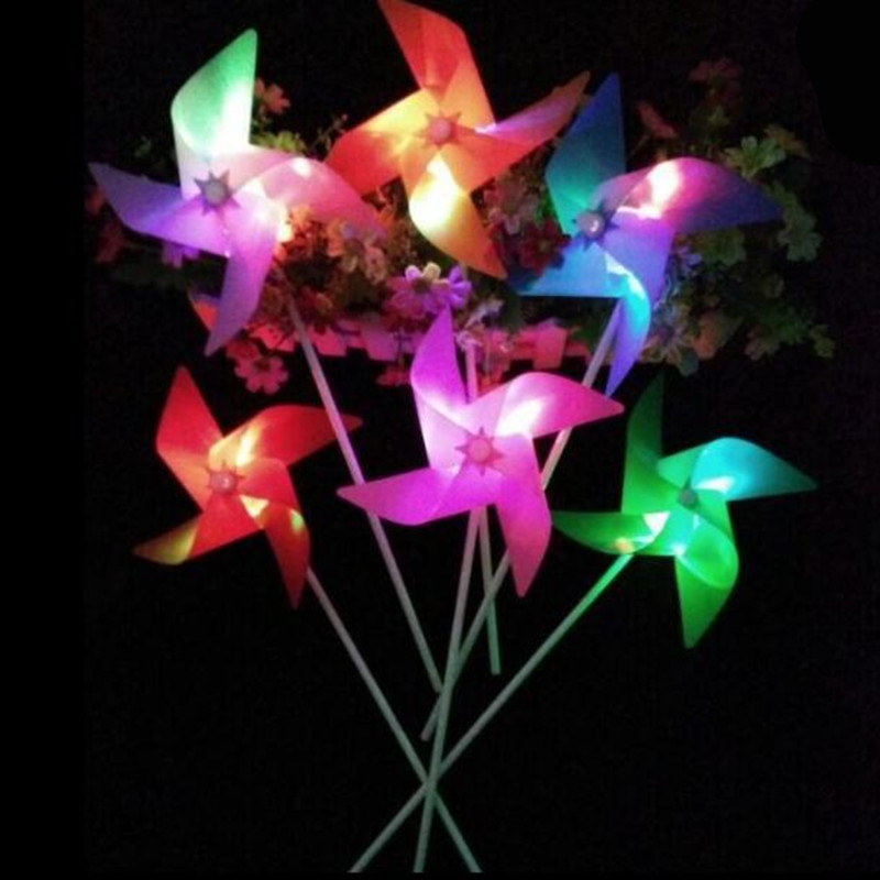 4pcs Colorful Luminous Led Windmill Novelty Garden Lights DIY Halloween Christmas Costume Party Decoration