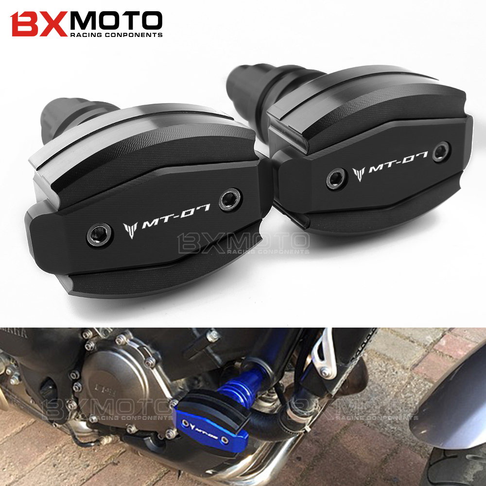 цены For Yamaha MT-07 MT07 2015-2018 engine protection cover CNC Left and Righ Frame Sliders Crash Pad Cover Falling Protector Guard