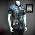 2017 Men Floral Shirt Summer Fashion Turn Down Collar Short Sleeve Shirts Mens Hot Sale Plus Size Men Casual Social Shirts 5XL-M