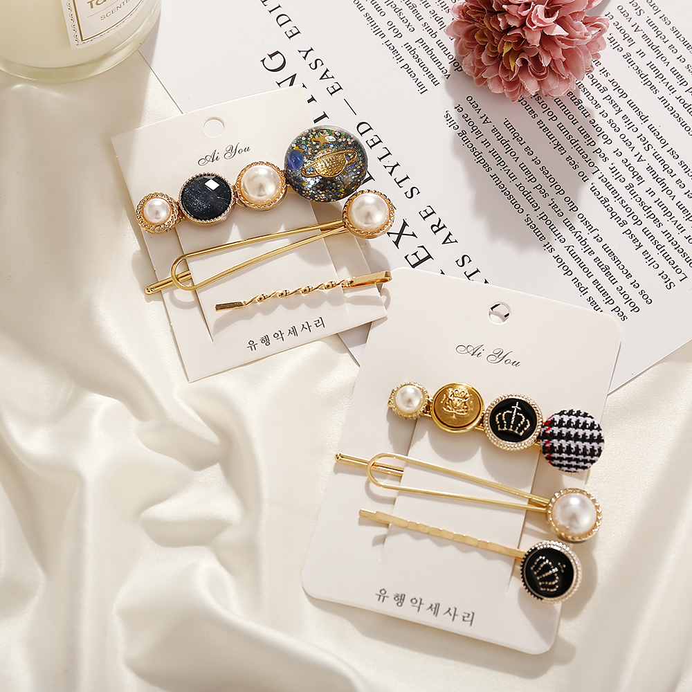 2019 Fashion Simulated-pearl Universe pattern Stone Hair Clips For Women Girls New Korea Hairpins Set Female Hairwear Jewelry(China)