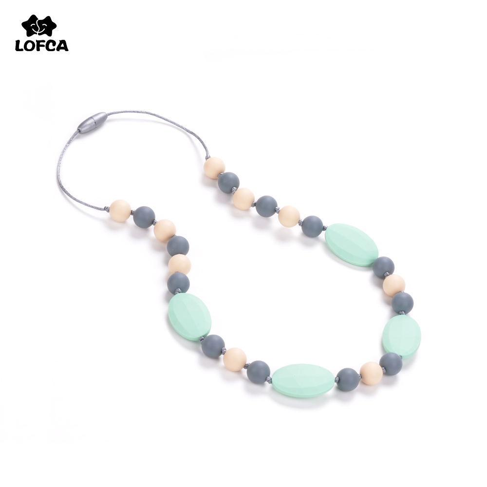Teething Necklace Silicone Teething Product Chewable Necklace Chewable Baby Bead Necklace Food Grade Silicone Teething Necklace Ожерелье