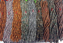 wholesale 2strands 16″ Tibetan Agate Beads 8-16mm – Round Balll Gemstone Beads black white evil agate neckalce green beads