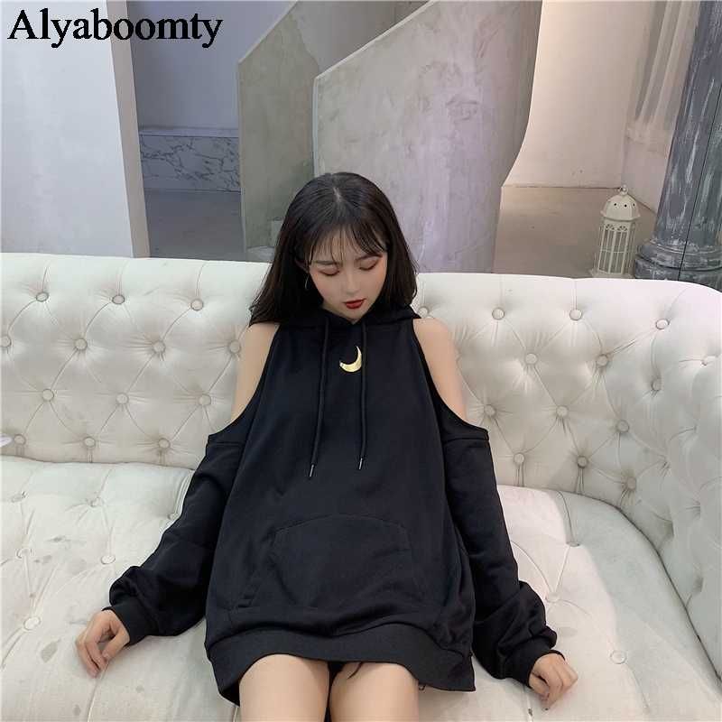 Japanese Harajuku Women Streetwear Hoodies Hooded Black Gray Off The Shoulder Oversize Pullover Korean Ulzzang Gothic Moon Tops