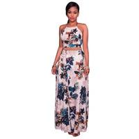 2017 Summer Women Sexy Floral Print Backless Cross Halter Tops and High Waist Maxi Dress Set Fashion Women Two Piece Sets HD101