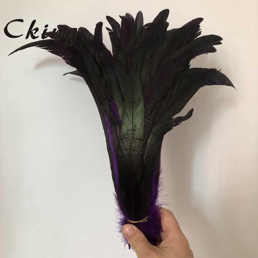 100pcs 천연 보라색 염색 치킨 깃털 30-35cm 12-14inch 닭 꼬리 깃털 diy 모자 머리띠 액세서리 공예 만들기