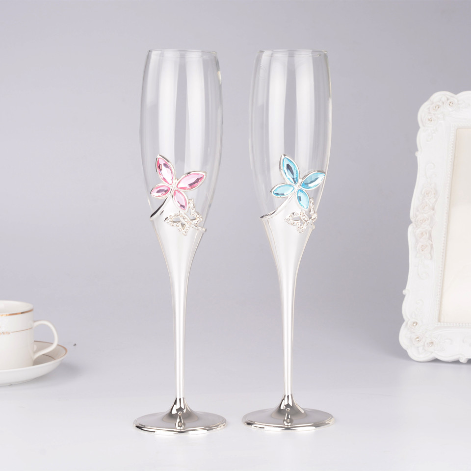 Wine Glasses set Champagne glasses wedding with butterfly Crystal ...