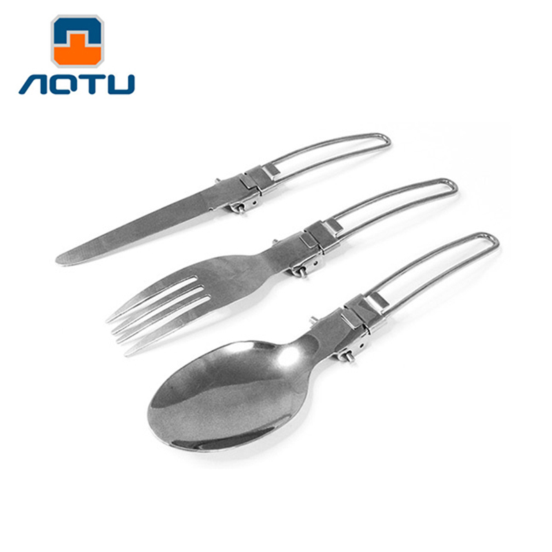 Outdoor Camping Picnic Stainless Steel Fork Spoon Tableware Ultralight Usef X
