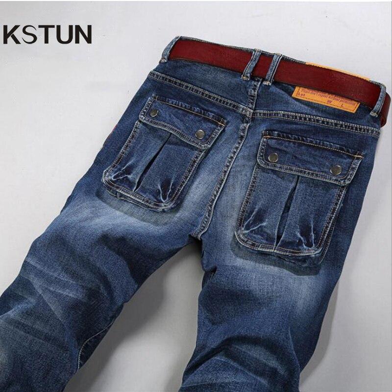 Large Size Jeans Men Slim Fit Stretch Pockets Designer Blue Casual Mens Denim Pants Long Trousers Male Homme Big Plus Size 28-48