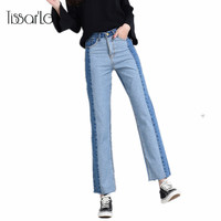 Women Jeans With High Waist Color Contrast Loose Denim Pants Panelled Jeans For Women Soft Cotton