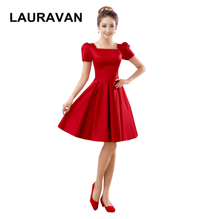 Short Sleeve Red Formal Elegant Satin Big Size Golden Bridesmaid Ball Dress Special Occasion Dresses New 2018 Free Shipping