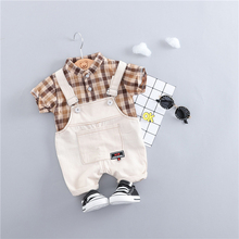 Fashiona Summer Toddler Infant Clothing Baby Girls Boys Clothes Sets Plaid Shirt Bib Pants 2pcs/Sets Kids Children Costume Suits
