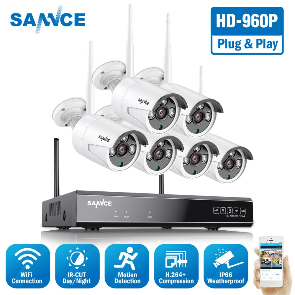 SANNCE 8CH HD 960P Wireless Video Security System 1080P HDMI NVR With 6PCS 1.3MP Outdoor Weatherproof WIFI IP Cameras CCTV Set