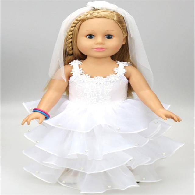 18 pulgadas muñecas American girl hermoso vestido de novia blanco ...