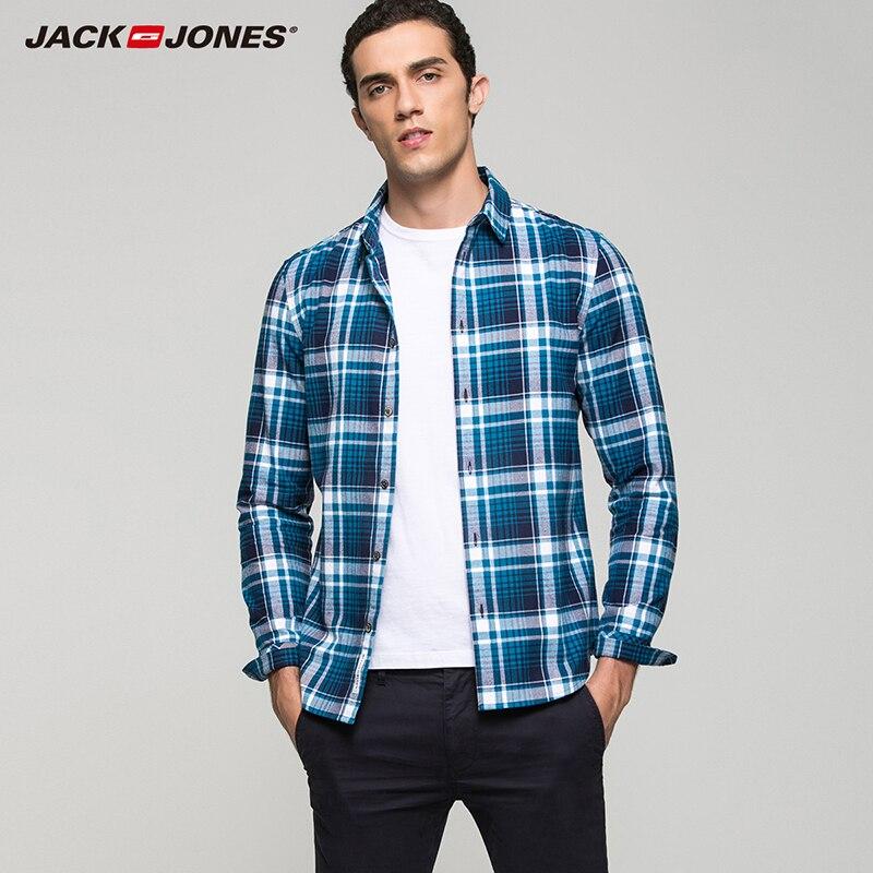 9afef885f7 Jack Jones versão xadrez multicolor de ALGODÃO 100% moda casual slim fit de  manga comprida camisas dos homens de topo