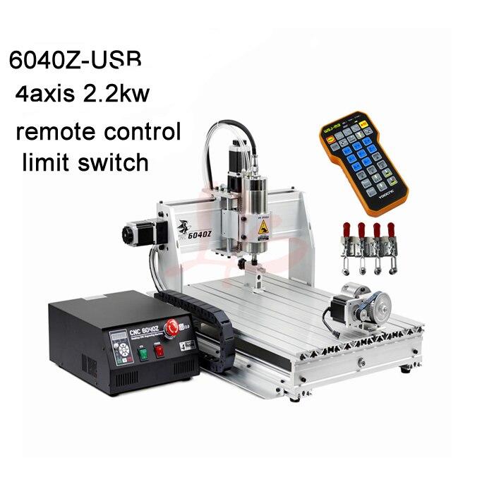2.2KW VFD mandrino di raffreddamento ad acqua cnc macchina 6040 di fresatura in metallo della macchina porta USB con con mach3 remote control + limite interruttore