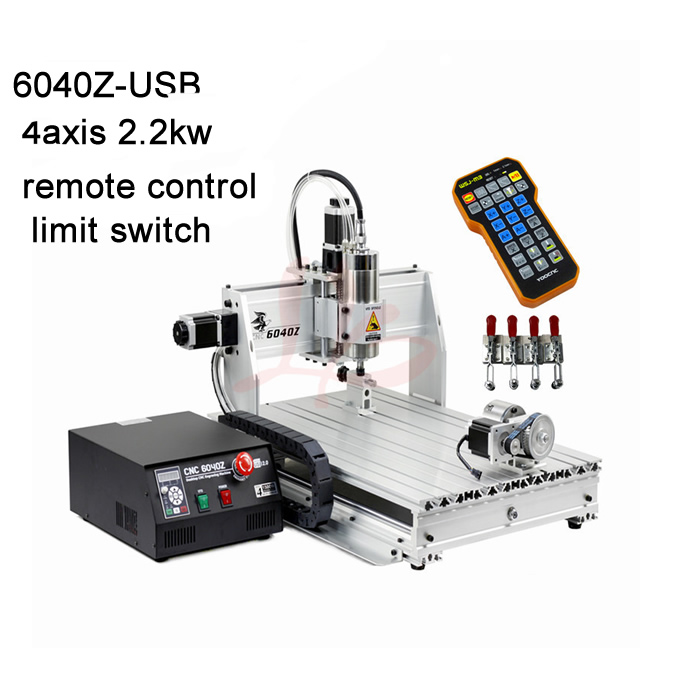 2.2KW VFD water cooling spindle cnc machine 6040 metal milling machine USB port with with mach3 remote control +limit switch