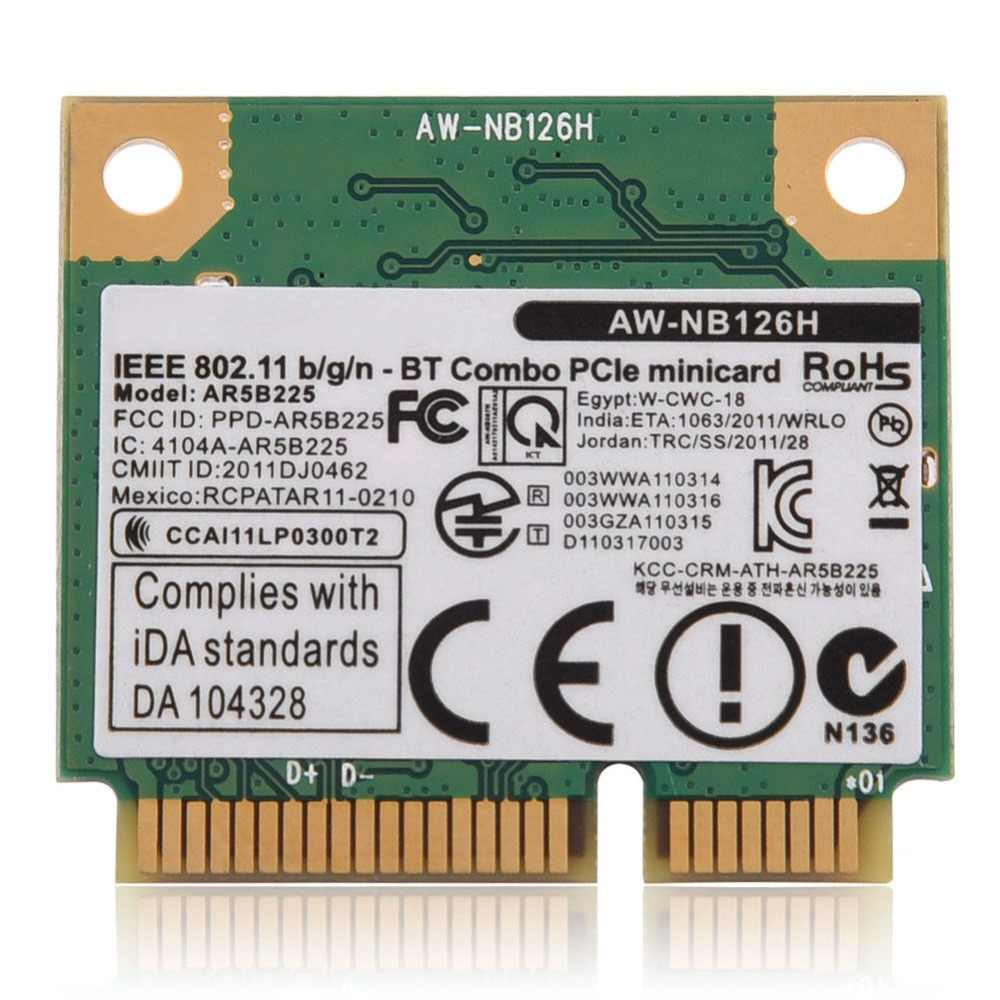 Cartão para Atheros AR5B225 R9485 AR3012 AW-NB097H AW-NB100H AW-NB126H DELL DW1703 WiFi Bluetooth 4.0 Wireless Mini PCI-E Cartão