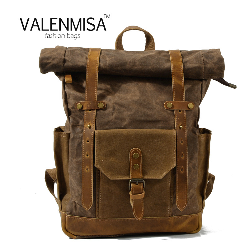 New Vintage Rucksack Canvas Backpack Leisure Travel Schoolbag Unisex Laptop Backpacks Men Backpack Male  Hydration Backpack big capacity tactical canvas backpack vintage laptop bags hiking men s backpack schoolbag travel rucksack outdoor daypack me0888