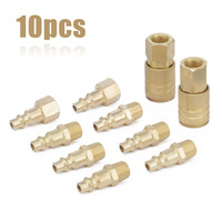 New 10pcs Solid Brass Quick Coupler Set Air Hose Connectors For 1 4 NPT Tools