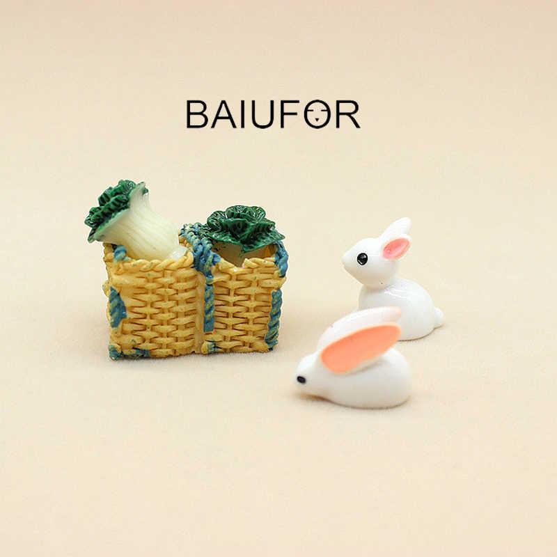 BAIUFOR миниатюрные террариумы Животные Мини-кролики кабаги корзина Сказочный Сад, миниатюра суккуленты настольные украшения из декоративной смолы