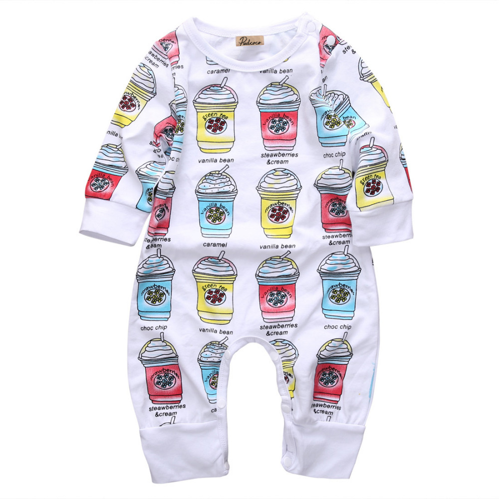 new 2016 spring summer baby girls boys ice cream printing jumpsuits infant toddler icecream long sleeve rompers