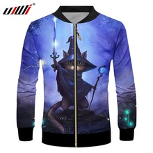 UJWI 2019 3D Modedruk Magic Cat Casual mannen Rits Jas Zomer Punk Mannen Lange mouwen Jas Grote size 5XL(China)