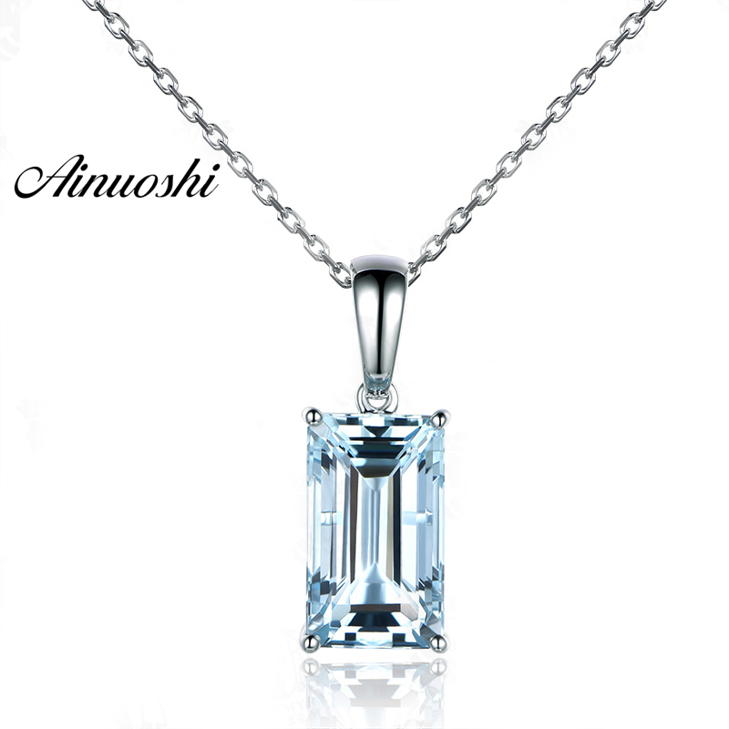 AINUOSHI Pure 925 Sterling Silver Topaz Pendant Necklace 4ct Emerald Cut Natural Sky Blue Topaz Pendant