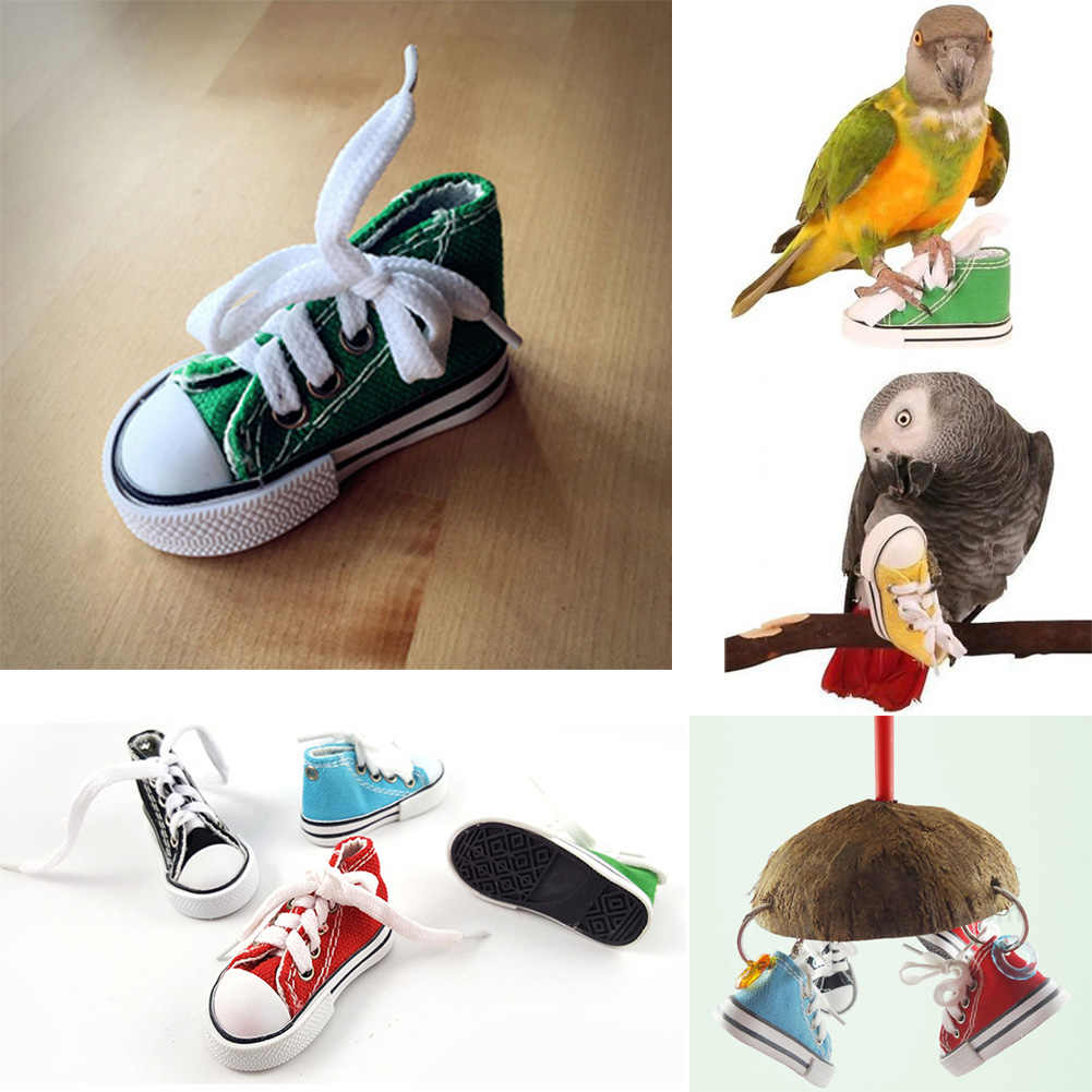 Mini Vẹt Đồ Chơi Giày Sneaker Chim Đồ Chơi Vẹt Thủ Công Lồng Đồ Chơi Thủ Công Lồng Nhỏ Cho Chó Mèo Thú Cưng Cockatiel Châu Phi Màu Xám Vẹt Mào hình Chim