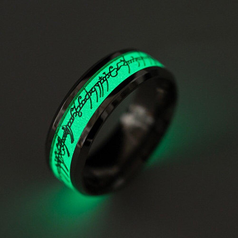 New Original Luminous Ring Glow In The Dark Gold Inlay Green Background  Fashion Silver Men Woman