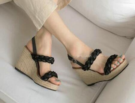 ФОТО 2016 New Fashion Women Open Toe Black Leather Braided Wedge Sandals Ankle Strap High Platform Sandals Causal Shoes