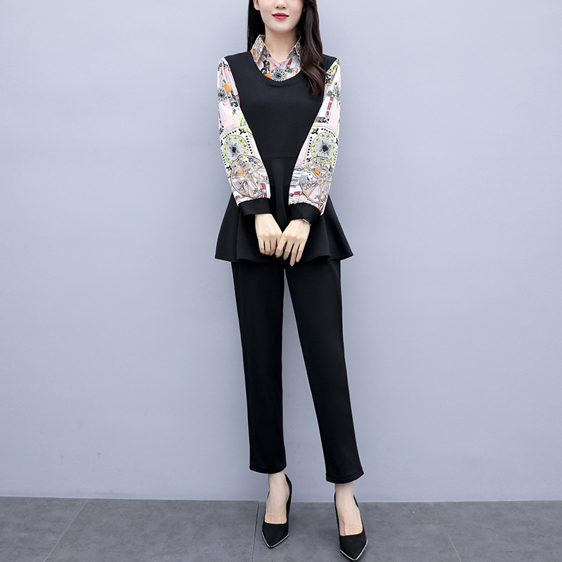 L-5xl 2019 Black Printed Two Piece Sets Women Plus Size Fake Two Pieces Tunics Tops And Pants Suits Elegant Korean Office Sets 24