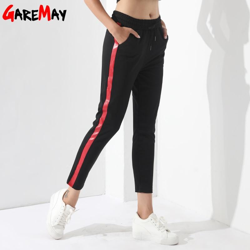 GareMay Official Store Черные повседневные штаны Для женщин шаровары в полоску Брюки для девочек для Для женщин Pantalon Femme Mujer Cintura Alta Мотобрюки женский garemay
