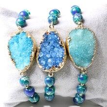 BOROSA Minimalist Sea Sediment Round Beads Crystal Druzy Bracelet,Stone Bracelet Jewelry,Blue Druzy Bracelet