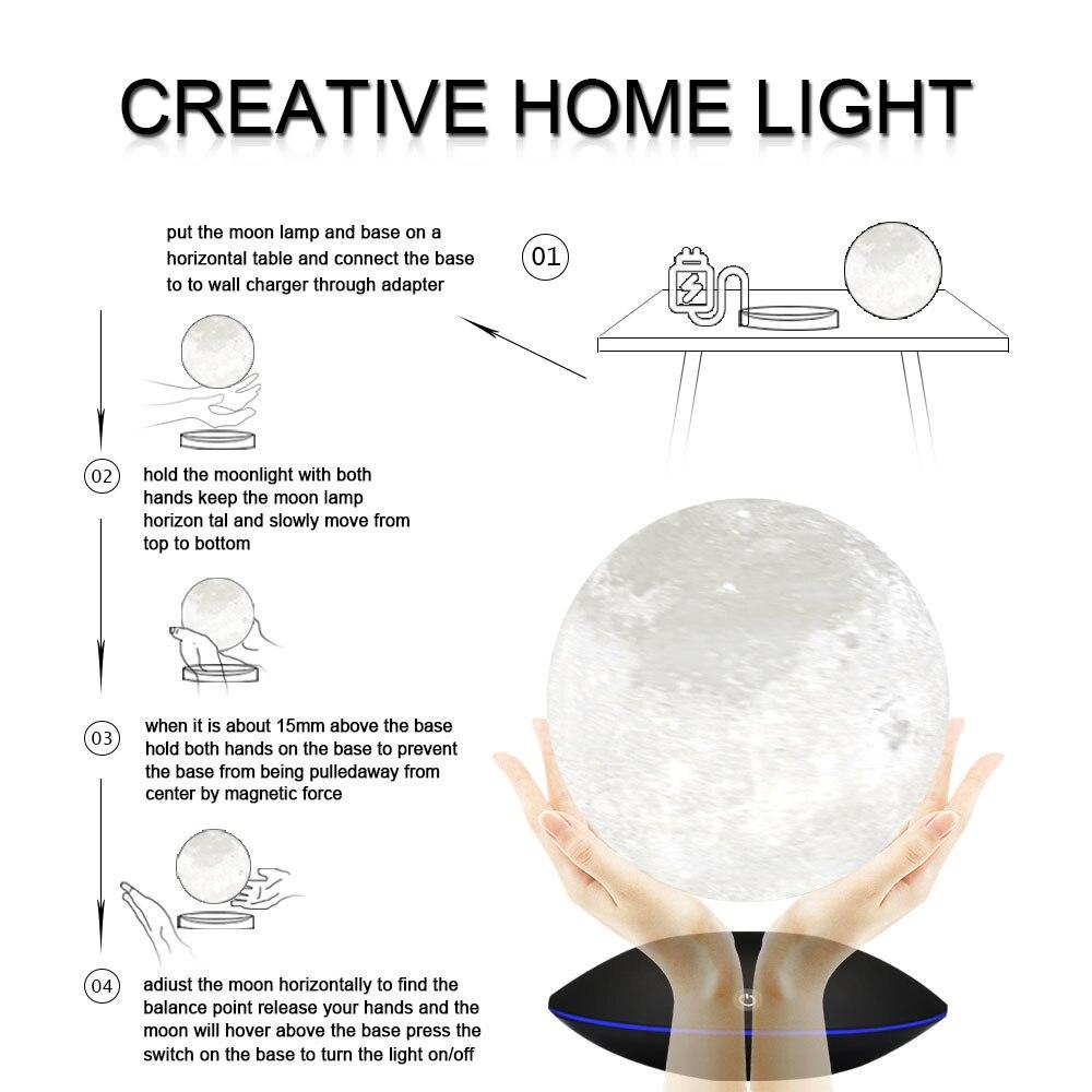 3d lua lâmpada 360 rotativa toque flutuante