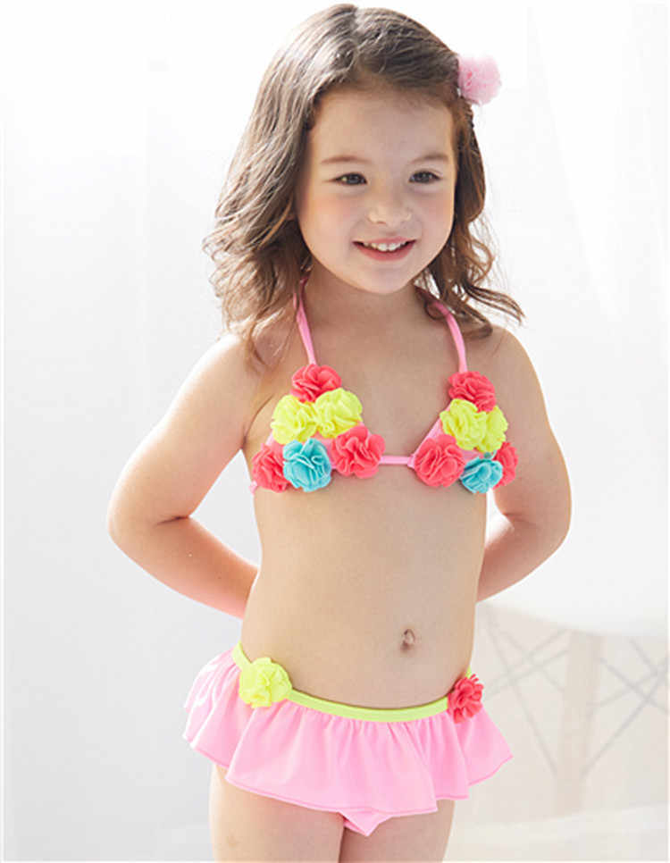 c724e0d9ea Floral Cute Kids Baby Girl Bikini Sets Swimsuit Swimwear Bathing Suits  Toddler Swimming Costume Kids Two-pieces Beach Biquini