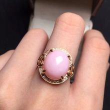 12*14mm fine jewelry perfect 18k rose gold perfect highest grade Australia pink opal wedding ring