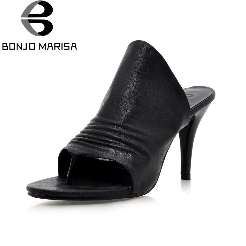 BONJOMARISA 2018 New Fashion Big Size 34-43 Best Quality Summer Pumps Women Pleated Mules Thin High Heels Shoes Woman bonjomarissa 2018 summer big size 33 43 women fashion black wine mules high heels patent pumps slip on shoes woman