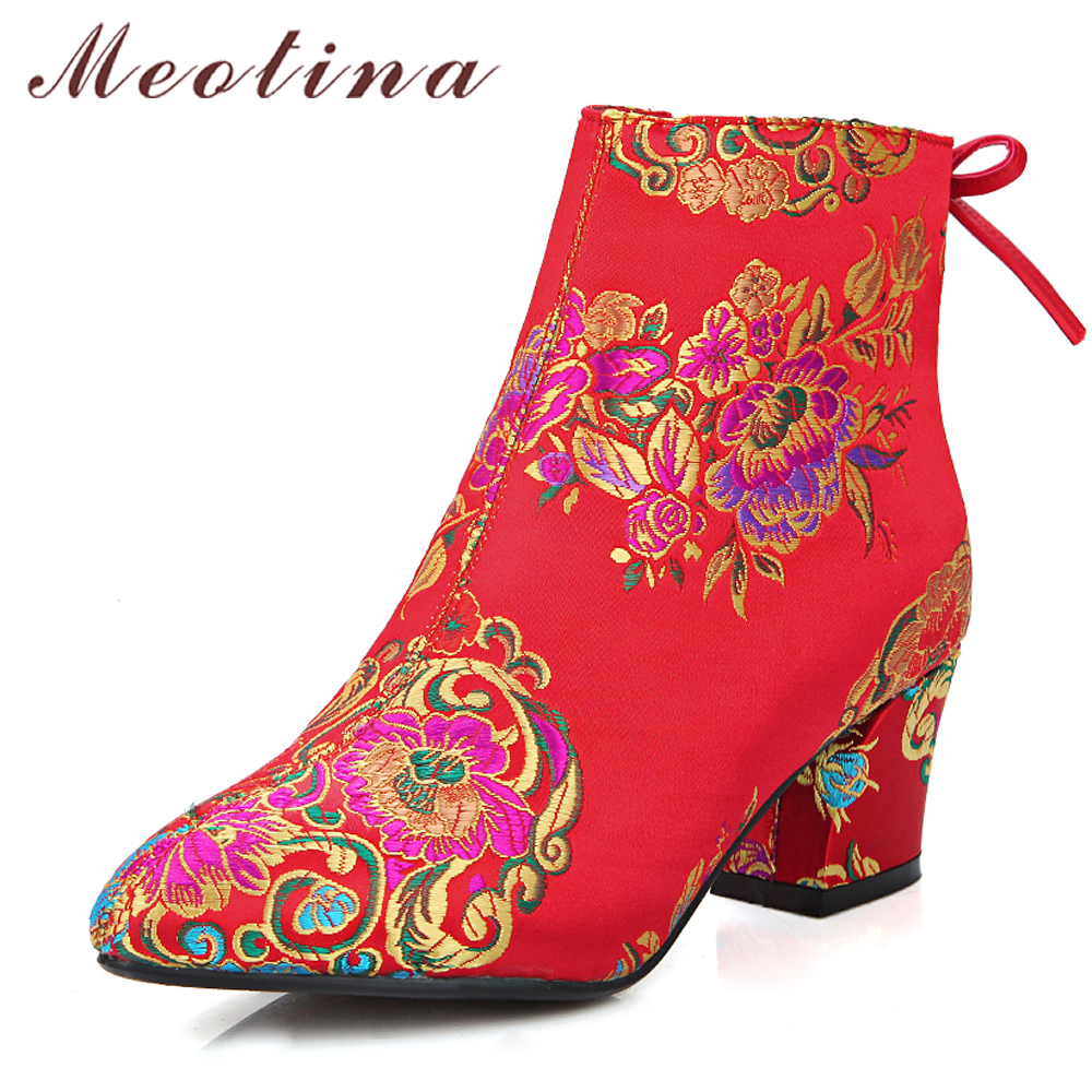 Meotina Women Ankle Boots Chunky Heels Embroider Boots 2018 Autumn Bow High Heel Boots Winter Bridal Shoes Large Size 33 43 Red